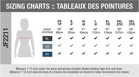 Sizing Chart - Female Jacket