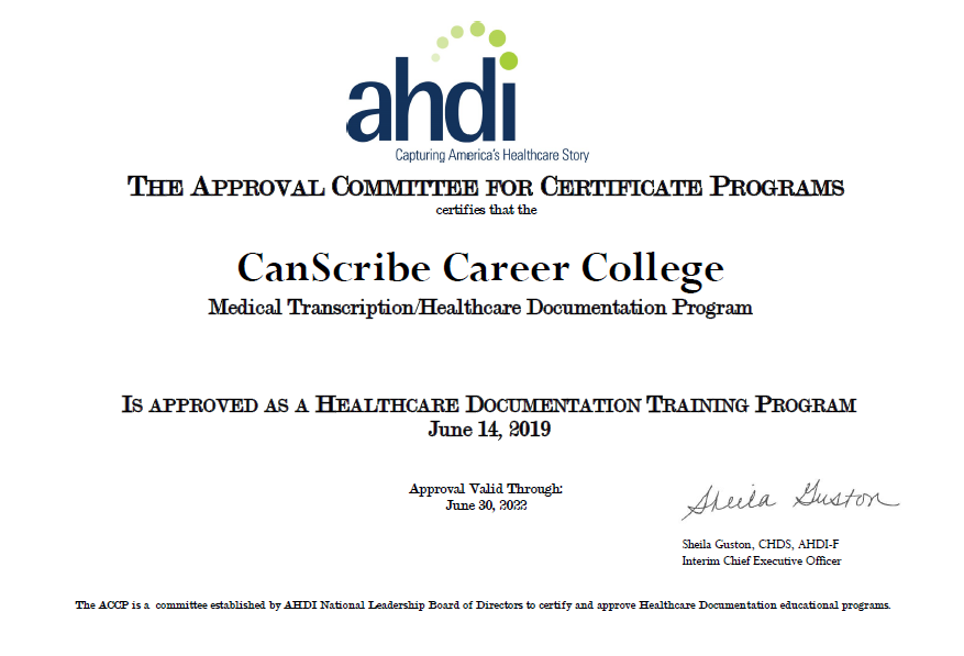 AHDI Approved Medical Transcription Program Certificate