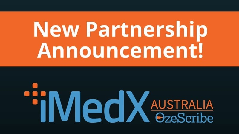 A sign announcing a new partnership with iMedX Australia!
