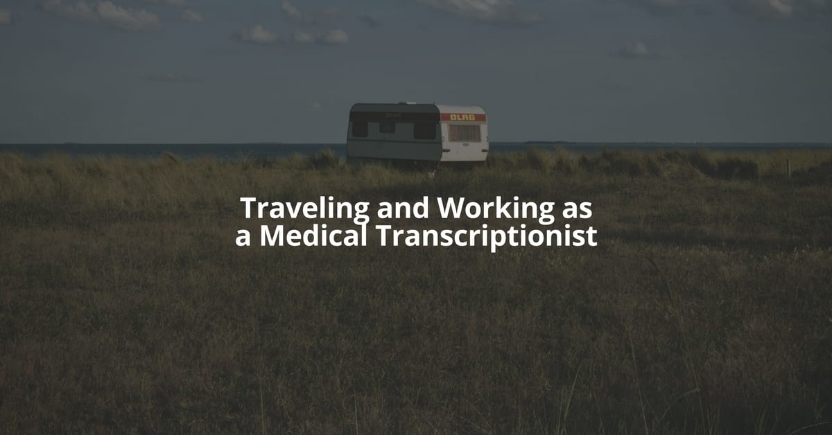 An RV camper in a field with text overlay