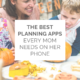 A mom laughing with her child while carving a pumpkin with text overlay