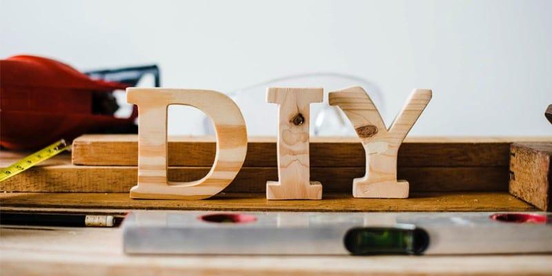 Wooden letters spelling DIY