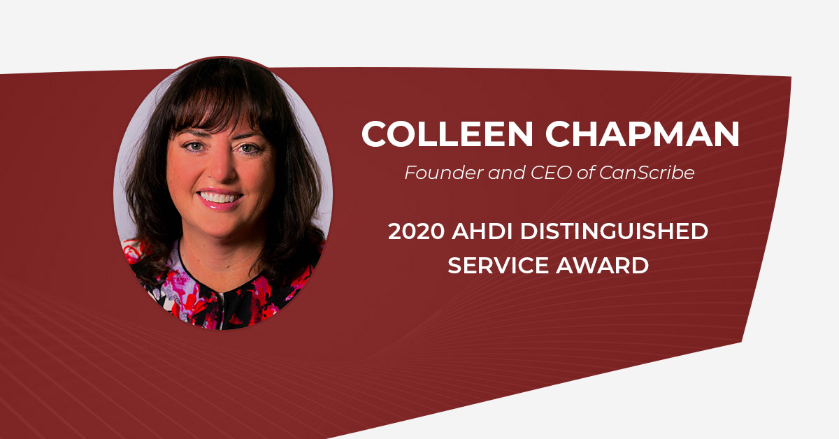 CanScribe Founder wins AHDI Distinguished Service Award 2